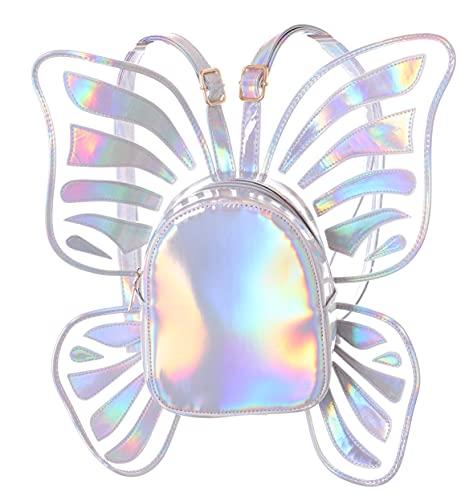Kawaii-Story LB-6037-1 Silber Hologram reflektierend Schmetterling Flügel 42cm groß Damen Rucksack Tasche Pastel Goth