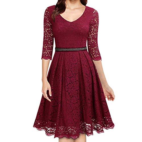 Damen Freizeit kleider,Langarm Loose Kleid blusenkleid Reißverschluss Perlen V-Ausschnitt Solide Lace Patchwork Dress Mode lässig Nähen Kleid S-3XL