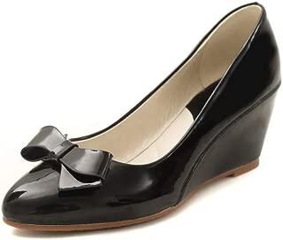 BalaMasa Womens Solid Bows Casual Urethane Pumps Shoes APL10860