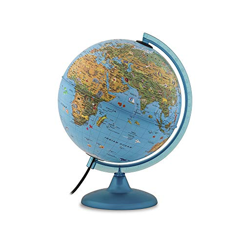 """Tecnodidattica 0325ACIN0AR1A06 Arca Globe for Children   with Animals and World-Famous Landmarks  Illuminated and revolving   Graduated Meridian   Cartography in English   10""""/25cm Diameter, Blue"""
