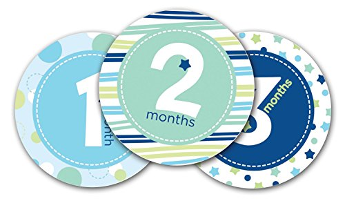 Adesivi per Indicare l'Età del Bimbo in Ogni Fotografia Durante i Primi 12 Mesi, Set di 12 Stickers da Attaccare sul Pancino per Condividere i Momenti della Crescita del Bambino, Blu