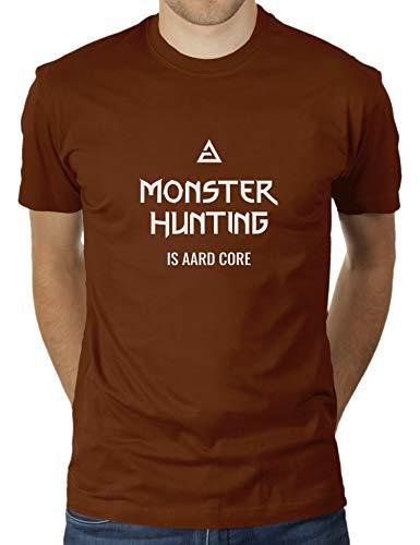 KaterLikoli - Maglietta da uomo 'Monster Hunting is Aard Core, motivo: mago mago mago Cioccolato M