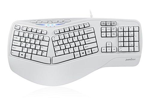 Perixx PERIBOARD-312 Ergonomic Backlit Keyboard - Wired USB with 2 Hubs - Natural Ergonomic Split Design - White LED - Black