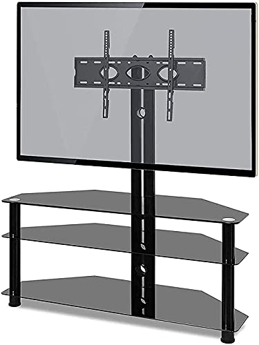 BNFD Corner TV Stand for Most 32-65 Inch TV with Tempered Glass Mount Bracket Tower Height Adjustable