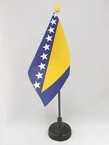 AZ FLAG TISCHFLAGGE BOSNIEN UND HERZEGOWINA 15x10cm goldene splitze - BOSNISCHE TISCHFAHNE 10 x 15 cm - flaggen