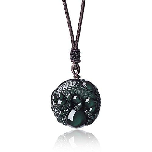 coai Natural Rainbow Obsidian Pixiu Chinese Totem Animal Stone Pendant Mala Necklace