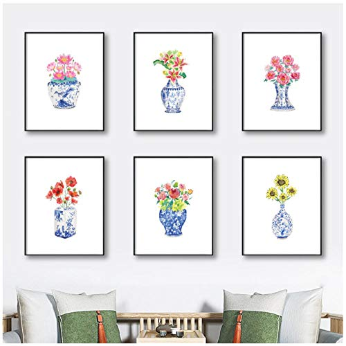 Watercolor Chinoiserie Vases with Flowers Posters Print Blue and White China Porcelain Art Canvas Painting Picture Wall Decor(40x50cmx6 no Frame) -  Ywsen, Rofg-846137591