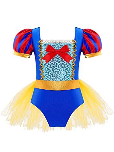 Freebily Maillot de Ballet para Niña Maillot de Danza Disfraz Princesa Bailarina Maillot Manga Corta de Abullonada con Tutú Vestido Elegante Niña Azul 15-16 años