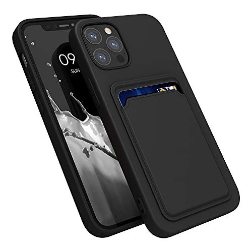 kwmobile Funda con Tarjetero Compatible con Apple iPhone 12/12 Pro - Carcasa Protectora de TPU Suave - Negro