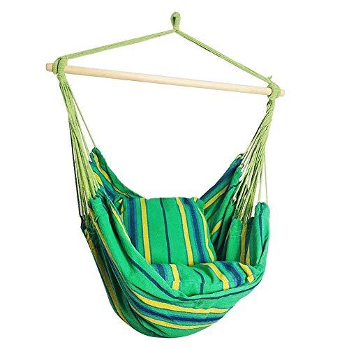 Gowind6 Draagbare reishangmat, grote hangmat schommelstoel, ontspannende tuinstoel, 2 zachte gevoerde kussens, binnen, buiten, strandstreep katoenen canvas 130 * 100cm/51.18 * 39.37in Groen