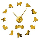 PLEASUR Pegatinas Bichon Frise Reloj De Pared Gran Efecto Espejo 3D Bichón Tenerife Reloj Silencioso Movimiento Sin tictac Bichon & Agrave; Poil Fris & Eacute; Reloj de Pared