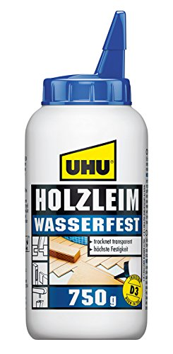 UHU Holzleim Wasserfest Flasche, Universeller und wasserfester Weißleim - geeignet für alle üblichen Holzarten und -verklebungen, 750 g