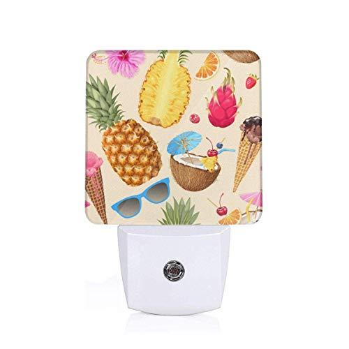Lámpara Nocturna con Smart Gafas de sol Ice Cream Aguacate Piña Buena para la habitación de los niños, el baño, el pasillo el armario o cualquier habitación oscura