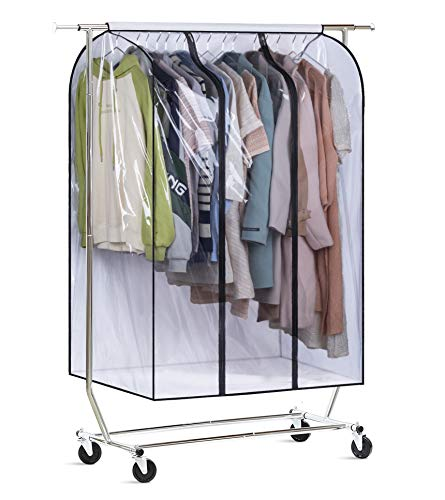MISSLO 50'' Extra Large Clear Hanging Clothes Storage Garment Cover Bottom Enclosed Clothes Rail Cover Sealed Wardrobe for Coats, Suits, Dresses (Frameless)