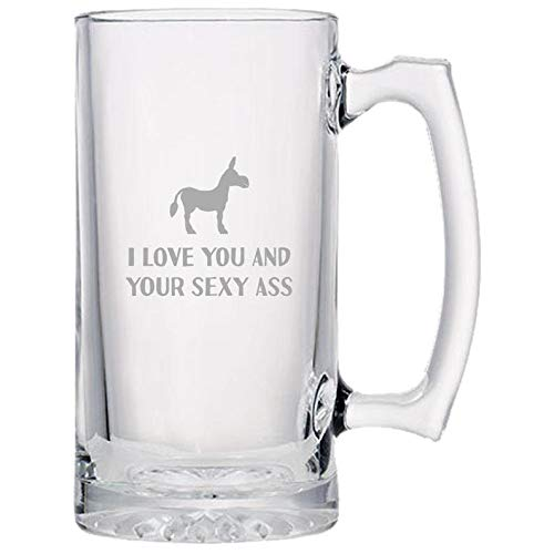 Beer Mugs Glass Beer Mugs 16oz Funny Beer Mug Love You and Your Sexy Ass Funny Valentine Anniversary Gift Sexy Birthday Gift Valentine's Day Beer Glass