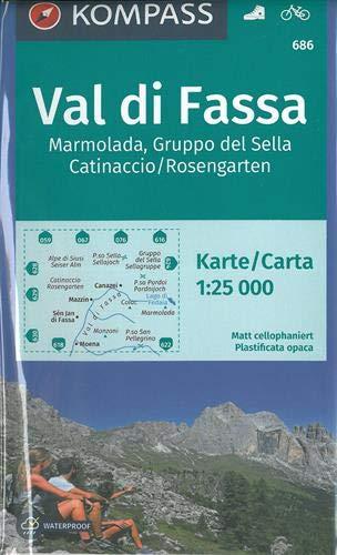 Carta escursionistica n. 686. Val di Fassa, Marmolada, Gruppo di Sella, 1:25.000: Wanderkarte mit Radtouren. GPS-genau