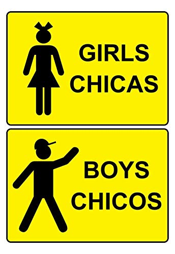metalen bordjes Jongens/Meisjes PVC Wastafel bordjes Set, met Engels + Spaans, Geel