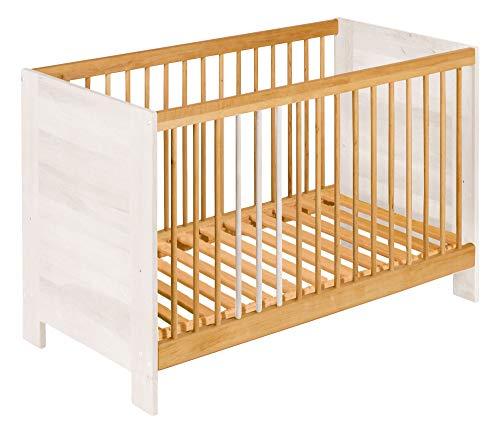 BioKinder 24832 Niklas kinderbedje zijbedje massief hout 60 x 120 cm elzenhout en wit geglazuurd