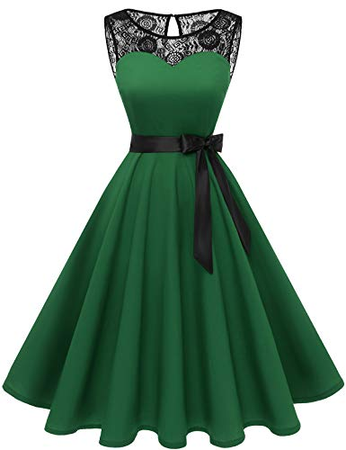 bbonlinedress 1950er Ärmellos Vintage Retro Spitzenkleid Rundhals Abendkleid Dark Green XL