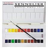 Set studio de acuarela, 24 medio godets,Caja de pintura de acuarela plástica Sennelier,MADE IN FRANCE