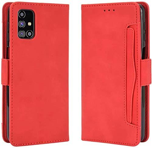 Miracle Girl Funda con tapa para Samsung Galaxy S21 Ultra con botón magnético, anticaída, de piel sintética, con tarjetero y función atril rojo L