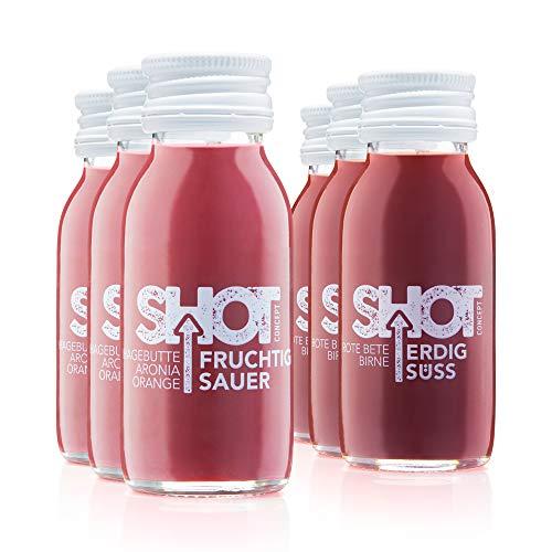 Shot Concept Hagebutte-Aronia Shot & Rote Bete Shot Mischkarton 6x 60ml, Glasflasche, 100% Vegan, BEKANNT AUS DEM TV