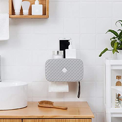 Dyna-Living Papierhandtuch Spender Ohne Bohoren Papierhandtuch Wandmontierter Tissue Boxspender Papier Handtuchhalter Hygienebeutel Phone Halter 3 in 1 Badezimmer (Grau)