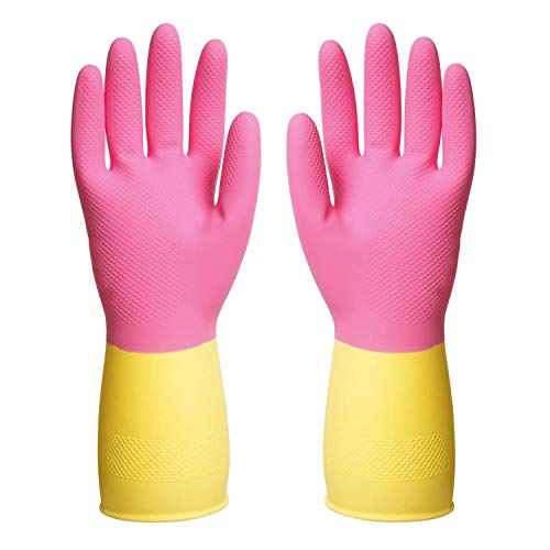 ThxToms Guantes de látex reutilizables para lavar platos, guantes de limpieza para la cocina y el hogar, 3 pares (L(3 pares), rosado)