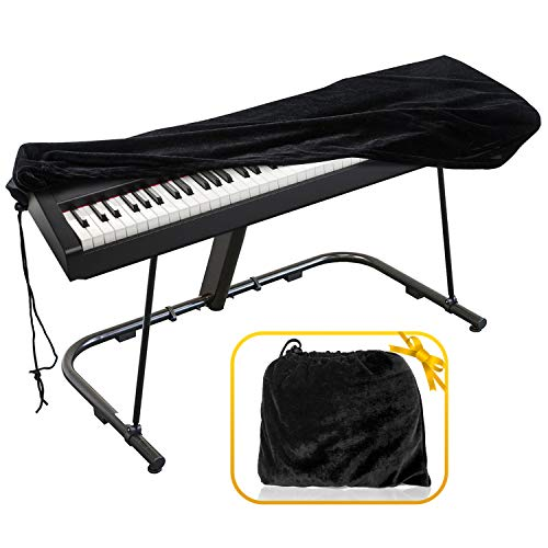 Piano Keyboard Cover, Premium Stretchable Velvet Digital Piano Dust Cover with Storage Bag, Compatible with Most 76-88 Key Models Electronic Keyboard, Digital Piano - Black