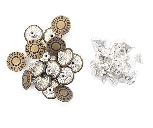 Trimming Shop 17mm Jeans Stud Buttons Bronze, Replacement for Missing Buttons on Jeans, Jackets, Clothes, Denim Skirt, DIY Crafts, DIY Craft Projects, 10pcs Set