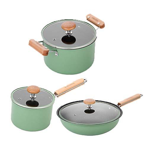 EOVL Utensilios de cocina de 3 piezas, sartén antiadherente de hierro, con tapa de vidrio templado, mango cómodo, adecuado para cocina de inducción de gas, fácil de limpiar Olla de sopa