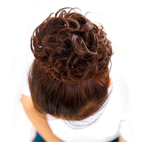 XIEWEICHAO Cheveux de mariée sac perruque femme boulettes de viande perruque fleur straight lisseur for cheveux droit cheveux raides duveteux duveteux (Color : Light brown)