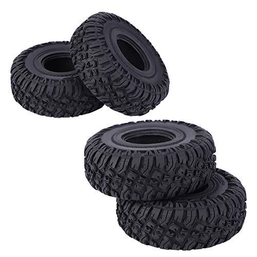 Excelentes accesorios de modelos de automóviles, 4.65x1.5inch neumático de calidad piel de caucho material cubo llantas de rueda hechas de caucho para rastreador 1/10 (negro)