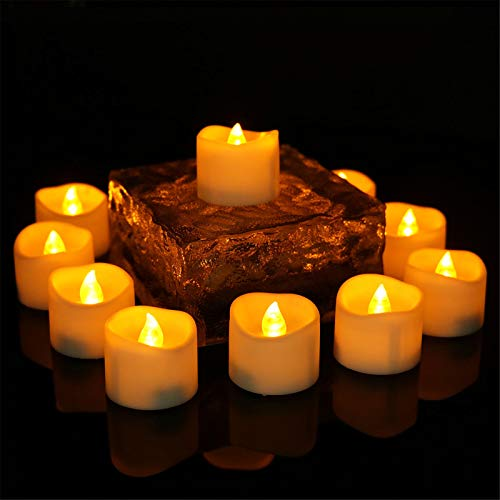 12pcs LED Tealight Flameless Candle with Timer Teardrop Style Tea Lights Amber Yellow Light Electric Flickering Fake Candles for Christmas Decoration, House Window, Home Decor, Wedding Party