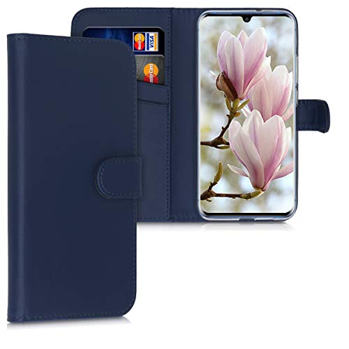 kwmobile Wallet Case Compatible with ZTE Axon 10 Pro - PU Leather Flip Cover with Magnetic Closure, Card Slots and Kickstand - Dark Blue