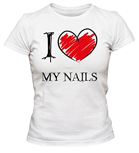 I Love My Nails Fun Damen T-Shirt_Weiss_L