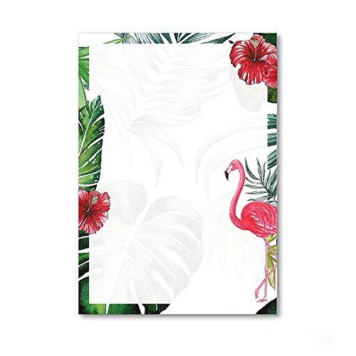 Briefpapier Set Flamingo I 50 Blatt Motiv-Papier in DIN A4 I rosa grün I Einladung Geburtstag Valentinstag Liebe Sommer I dv_209