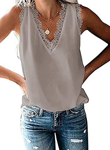 HARHAY Women's V Neck Sleeveless LaceTrim Casual Tank Tops Blouses Shirts Grey M