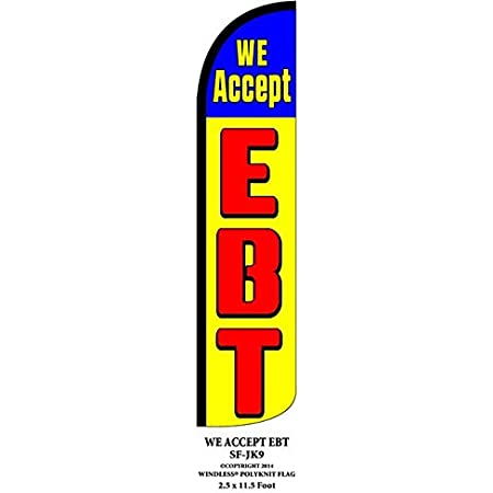 We Accept EBT Windless Flag With Complete Hybrid Pole set 3 pack