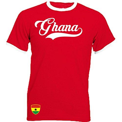 Ghana Ringer Retro TS - rot - WM 2018 T-Shirt Trikot Look (L)
