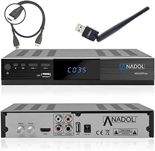 Anadol HD 222 Pro HD HDTV Digital Sat Receiver (HDTV, DVB-S/S2, HDMI, 2X USB 2.0, Full HD 1080p, YouTube) [vorprogrammiert für Astra Hotbird Türksat ] Satellite Receiver + HDMI Kabel