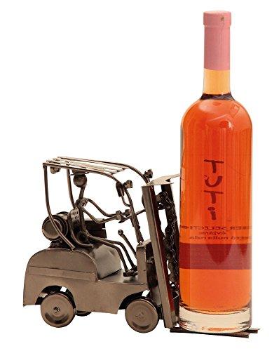 Extravaganter Wein Flaschenhalter Gabelstapler aus Metall Höhe 17 cm Breite 25 cm