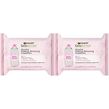Makeup Remover Micellar Cleansing Wipes Gentle for all Skin Types by Garnier SkinActive 25 Count 2 Pack
