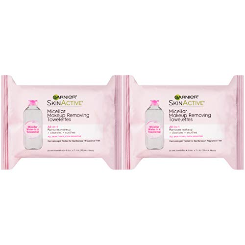 Makeup Remover Micellar Cleansing Wipes, Gentle for all Skin Types by Garnier SkinActive, 25 Count, 2 Pack