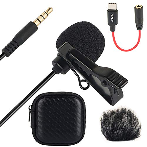 Fomito Micmov Professional Lavalier Lapel Microphone Omnidirectional Condenser Recording Mic for iPhone Android Smartphone, YouTube, Video Vlog, Interview, Podcast, Voice Dictation, Music