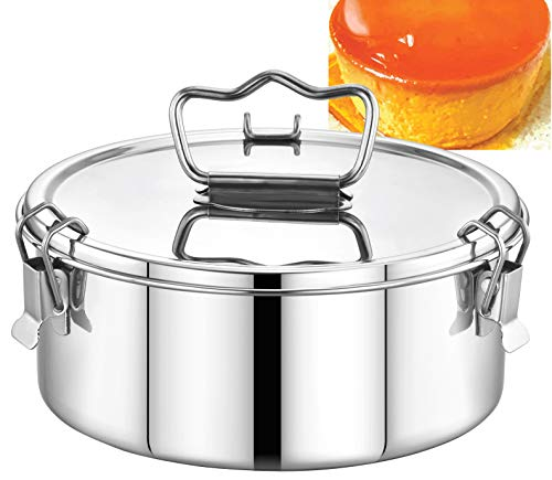 EasyShopForEveryone Stainless Steel Flan Mold 63 oz, Ergonomic Handle for Easy Lifting, Compatible with Instant Pot 6 qt [3qt, 8qt avail], Pot in Pot Cooking, Bakeware, Pressure Cooker Accessories