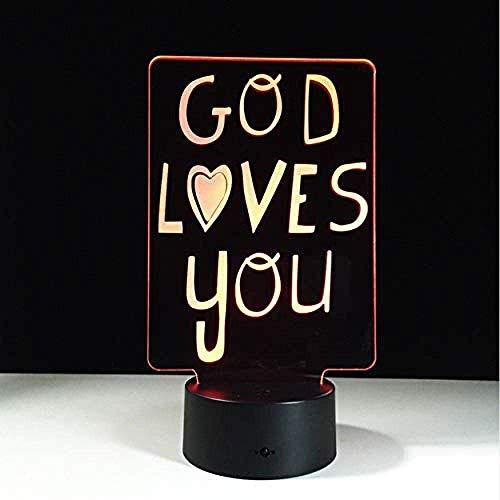 Gott Liebt Dich 3D-Led-Licht Unternehmer Dekoration Licht Spielzeug Flash-Atmosphäre Glowing Touch 7 Farbe Illusion Nachtlicht