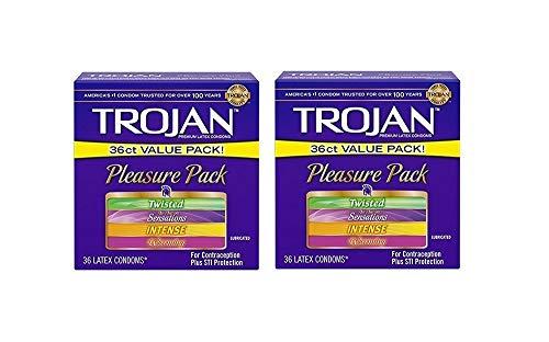 Trojan Pleasure Pack Latex Condoms, Assorted-Value Pack (72 Count)