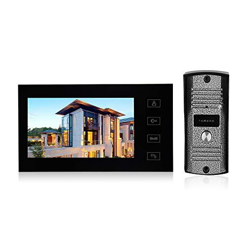 OWSOO Videoportero con Pantalla LCD de 7 Pulgadas, Intercomunicador de Vídeo, Botón Táctil, Soporte Visión Nocturna por Infrarrojos, Intercomunicador Bidireccional, Impermeable