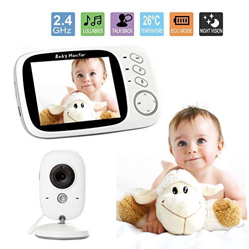 Monitor inteligente para bebés de 3,2 pulgadas, con cámara de vigilancia, sensor de temperatura, canciones de sueño, visión nocturna, función de interfono. Talla:EU